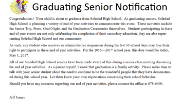 Graduating Senior Notification