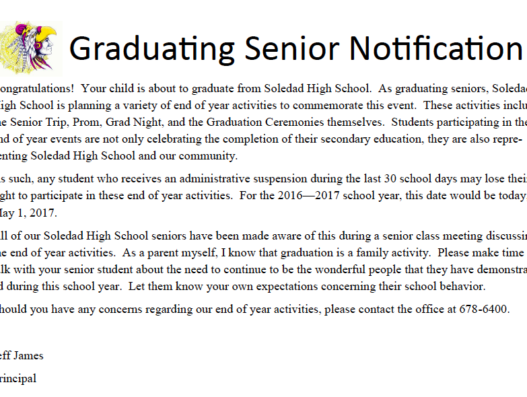 Graduating Senior Notification